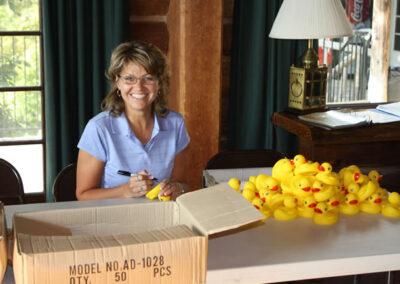 Karen Hodson numbering the ducks